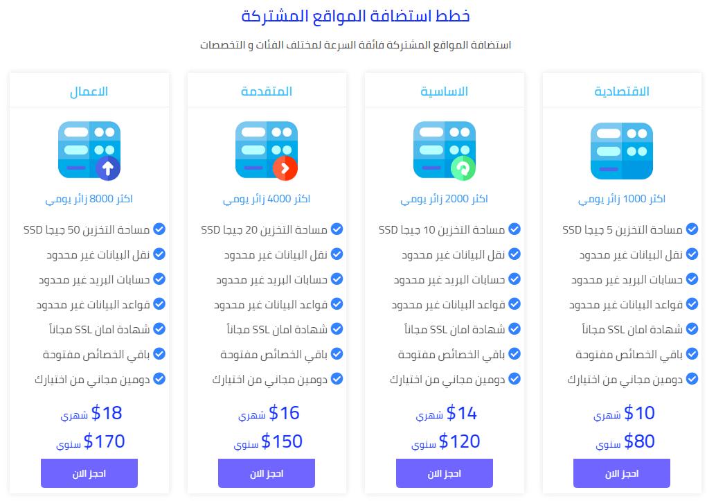 اسعار الاستضافة المشتركة